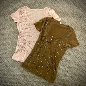 Pair of J.Crew Sparkle Waves Henley Tees